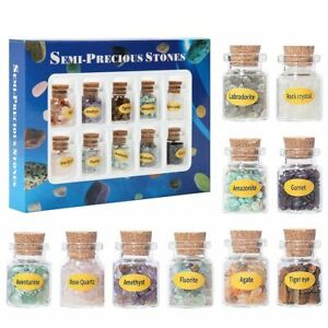 10 Mini Gemstone Wishing Bottles Chip Crystal Healing Tumbled Reiki Wicca Stones