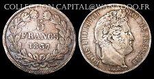 5 Francs Louis Philippe 1er 1837B Rouen 2ème type Tranche en relief Côte TB 50€