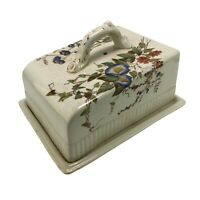 Antique Vintage Country Kitchen Cheese Dish Plate Butter Dish Floral Design