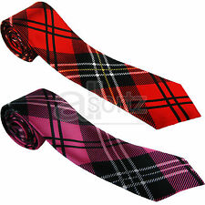 écossais rose-rouge Noir pour hommes satin femmes unisexe Skinny Cravate Ecosse