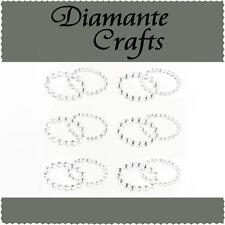 6 x Clear Diamante Double Rings Self Adhesive Craft Rhinestone Embellishmen Gems