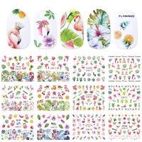 12 Designs Nail Polish Sticker Water Decal DIY Flamingo Flowers Transfer Decors