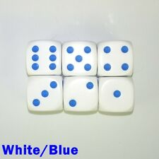 Opaque Dice Dot Spot Spotted 6x 16mm D6 White Blue Table Top Board Game Fantasy