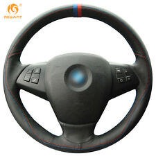 DIY Black Leather Steering Wheel Cover Wrap for BMW E70 X5 2008-2013 #01126
