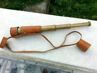 Folding Telescope Antique Brass Telescope with Leather case Finish Brown Leather