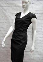 COAST LITTLE BLACK V NECK CAP SLEEVE PENCIL DRESS Size 12