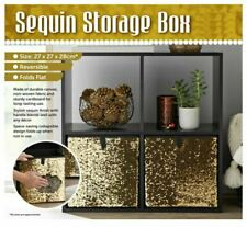 New Gold Sequin Foldable Storage Box with Lid Collapsible Home Organizer Cube
