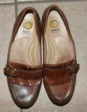 EARTH SPIRIT Womens sz 6.5 or 6 1/2 Brown Leather Loafers Buckles Slip On Shoes