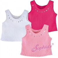 """WHITE Ribbed Rhinestone Tank Top fits American Girl Dolls /& Other 18/"""" Dolls"""