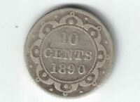 NEWFOUNDLAND 1890 10 CENTS DIME QUEEN VICTORIA CANADIAN STERLING SILVER COIN