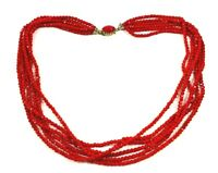 Vintage Red Faceted Glass Bead Necklace Multi Strand