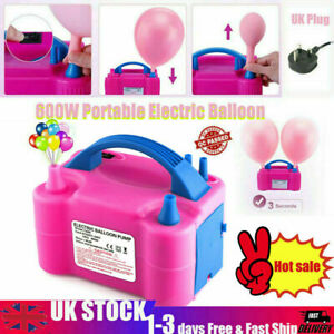 600W Electric Air Balloon Pump Dual Nozzle Automatic Portable Inflator Party uk