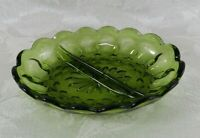 Vintage Divided Oval Dish Indiana Glass Green Thumbprint Candy Relish Tray