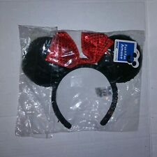 SEGA Authentic Disney Parks BLACK RED Party Sequins Mickey Minnie Mouse Headband