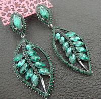 Women's Green Crystal Rhinestone Leaf Betsey Johnson Stud Dangle Earrings