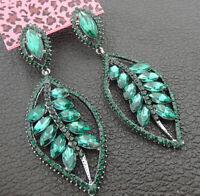 Women's Green Crystal Rhinestone Leaf Betsey Johnson Stud Dangle Earrings