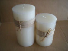 """Unscented Extra Large Ivory Pillar Candle~Measures 8""""x4"""" and 6""""x4"""" Set of 2"""