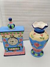 Ganz Ceramic Poreclain Desk Clock  & Matching Vase - Bella Casa