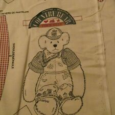 Daisy Kingdom 1996 Ted E Spring teddy bear overalls clothes fabric panel