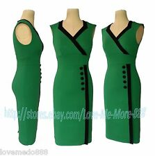 WOMENS CELEB OL busienss Wear to Work Casual wiggle Pencil A Midi Dress GREEN M
