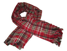 Ralph Lauren Polo Red Plaid Check Scarf Italy Western Big Pony Neck Scarf