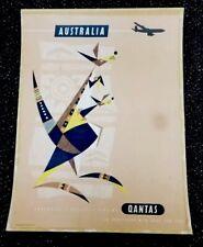 VTG Qantas Airlines Australian Travel Advertising Poster By Harry Rogers Rare !