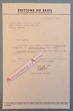 Lettre 1973 Emmanuel ROBLES Ecrivain né Oran - Editions du Seuil Collins Londres