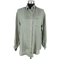 Ann Christine Womens Grey Silk Long Sleeve Button Down Shirt Blouse Large