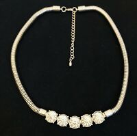 Modernist Large Rhinestone / Silver-tone Costume Jewellery Necklace