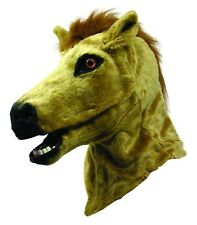 Horse Mask Tan Faux Fur Moving Mouth Life Like Deluxe Costume Mask