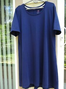 Isaac Mizrahi Essentials Pima Cotton Elbow- Sleeve Dress - NEW - NAVY Petite XL