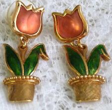 Pretty Vintage AVON Enamel Tulip Flower in  a Vase Pierced Earrings  DD93