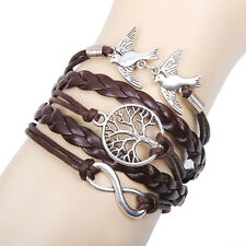 NEW Infinity anchor Pigeon Friendship Leather Charm Bracelet Wrap plated Silver