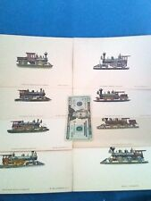 1950 VTG Lot=8 Color Prints of Early American Locomotives+Box-Train Pictures