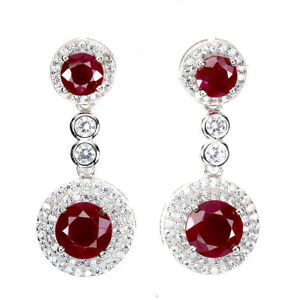 Round Red Ruby 7mm Cz 14K White Gold Plate 925 Sterling Silver Earrings