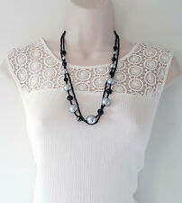 "Gorgeous 26"" long black & silver coloured double layered seed bead necklace"