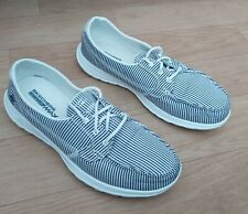 SKECKERS ON THE GO BLUE & WHITE STRIPE DECK SHOES UK8 EU41 FREE UK P&P!!
