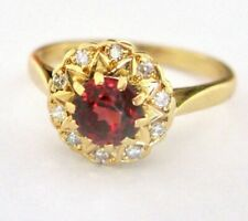 Antique Beautiful Spessartite Garnet Diamonds 18k Yellow Gold Ring