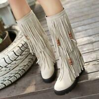 Fashion Women Tassel Fringe Round Toe Moccasin Knee High Mid Calf Boot Plus Size