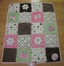 NoJo Pink Brown Green Flower Butterfly Baby Quilt Blanket