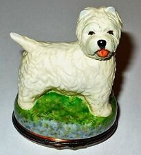 HALCYON DAYS ENAMEL BOX - WEST HIGHLAND  TERRIER BONBONNIERE - DOG - PUPPY