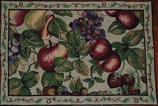 Tapestry Placemat~Red Apple~Purple Grapes~Strawberry~Pear~Leaf~Summer Garden~NEW