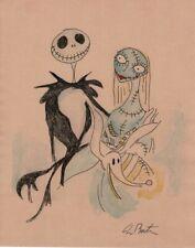 Tim Burton Drawing of Jack Skellington Sally & Zero A nightmare Before Christmas