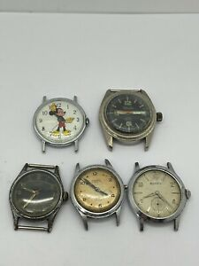 VINTAGE Mechanical Mens Watch Lot Of 5 Mickey Mouse Chalet Belforte -As Is