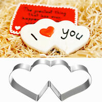 GI- Stainless Steel Double Heart Valentine's Day Cookie Pastry Cutter Mold Welco