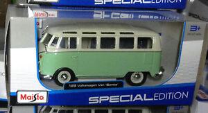 VW Séparé Écran T1 Samba Camper Van Type 2 1:24 25 Echelle Modèle Moulé Vert