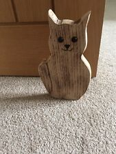 Oak Wood Cat doorstop, Handmade ideal birthday gift