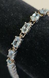 925 Sterling Silver Bracelet With Blue Gemstones