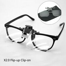 Clip On 2x Magnifying Reading Glasses Spectacles Magnifier Flip Up Loupe Lenses
