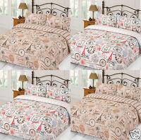 Parisiene Paris Eiffel Tower Reversible Duvet Cover/Quilt Cover Set Bedding